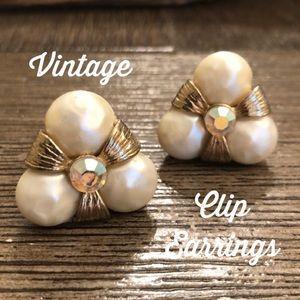 Pearl Aura Borealis Rhinestone Clip Earrings